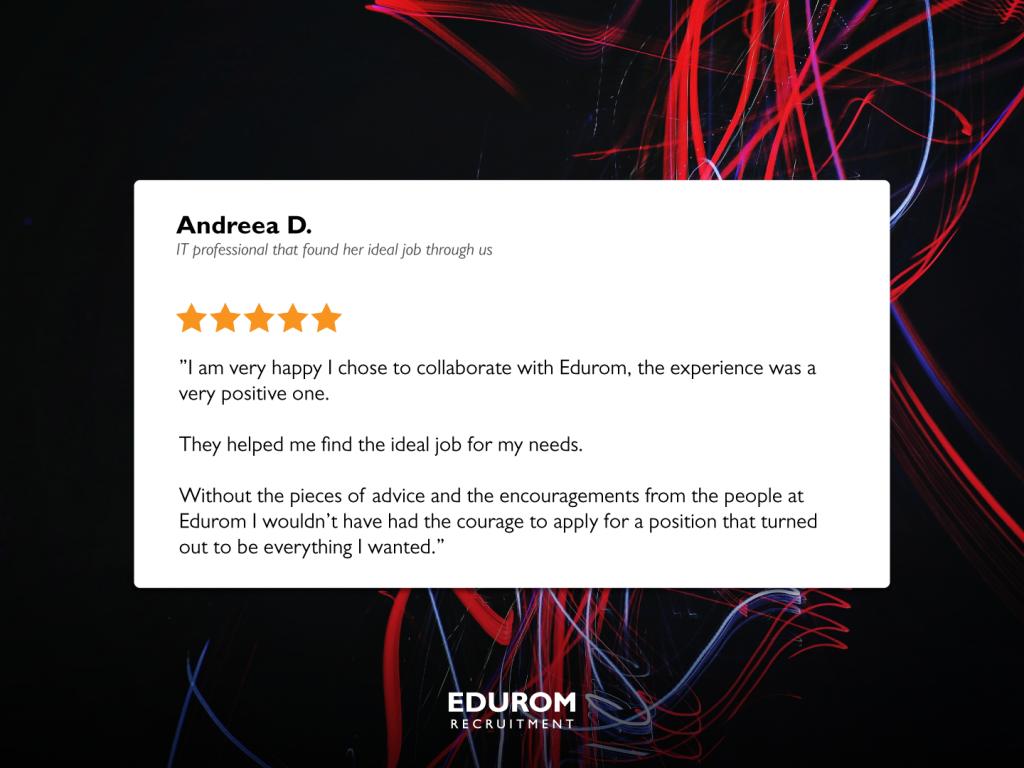 Testimonial about the EDUROM Recruitment experience